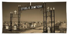 Hand Towel featuring the photograph Victoria, Kansas - St. Fidelis Cemetery Sepia by Frank Romeo