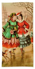 Victorian Ice Skaters Hand Towel