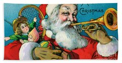 Victorian Illustration Of Santa Claus Holding Toys And Blowing On A Trumpet Hand Towel
