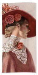 Victorian Lady In A Rose Hat Hand Towel