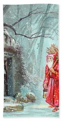 Victorian New Year's Card With Father Christmas Carrying Bundle Of Sticks On A Snowy Night Hand Towel