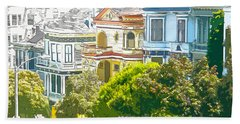 Victorian Painted Ladies Houses In San Francisco California Bath Towel