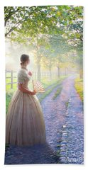 Victorian Woman On A Rural Path At Sunset Hand Towel by Lee Avison