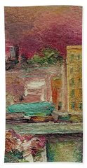 Bath Towel featuring the painting View From A Balcony by Mary Wolf