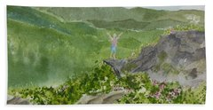 View From Craggy Gardens - A Watercolor Sketch  Bath Towel