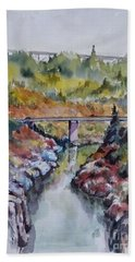 View From No Hands Bridge Bath Towel by William Reed