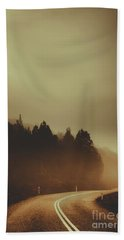 View Of Abandoned Country Road In Foggy Forest Bath Towel