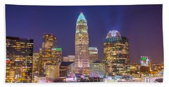 Bath Towel featuring the photograph View Of Charlotte Skyline Aerial At Sunset by Alex Grichenko