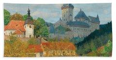 View Of Karlstejn Castle Near Prague Bath Towel
