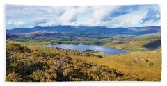 View Of Lough Acoose In Ballycullane From The Foothill Of Macgil Bath Towel by Semmick Photo