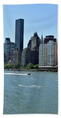 View Of Manhattan From Roosevelt Island Hand Towel by Sandy Taylor