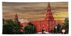 View Of The Borovitskaya Tower Of The Moscow Kremlin Bath Towel