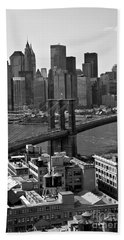 View Of The Brooklyn Bridge Hand Towel by Madeline Ellis