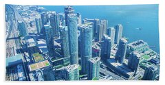 View Of Toronto Waterfront From Cn Tower Bath Towel