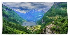Bath Towel featuring the photograph View On Geiranger From Flydalsjuvet by Dmytro Korol