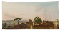 Bath Towel featuring the painting View On The Quirinal Hill. Rome by Simon Denis
