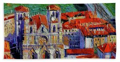 View Over Cathedral Saint Jean Lyon Hand Towel