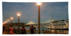 Viewing The Bay Bridge Lights Hand Towel