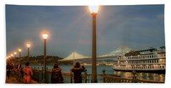 Viewing The Bay Bridge Lights Bath Towel