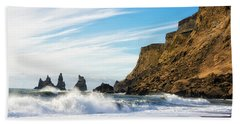Vik Reynisdrangar Beach And Ocean Iceland Bath Towel by Matthias Hauser