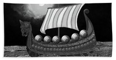 Hand Towel featuring the digital art Viking Ship_bw by Megan Dirsa-DuBois