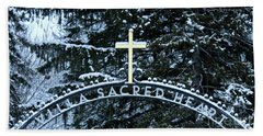 Bath Towel featuring the photograph Villa Sacred Heart Winter Retreat Golden Cross by John Stephens