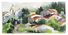 Bath Towel featuring the painting Village Life 5 by Rae Andrews