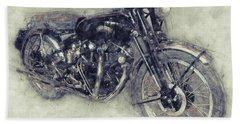 Vincent Black Shadow 1 - Standard Motorcycle - 1948 - Motorcycle Poster - Automotive Art Bath Towel