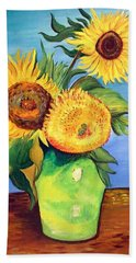Bath Towel featuring the painting Vincent's Sunflowers by Patricia Piffath