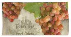 Vineyard - Napa Valley Vintner's Touch Pinot Grigio Grapes  Bath Towel by Audrey Jeanne Roberts