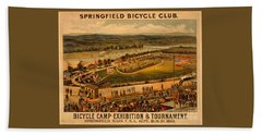 Hand Towel featuring the photograph Vintage 1883 Springfield Bicycle Club Poster by John Stephens