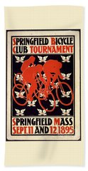 Bath Towel featuring the photograph Vintage 1895 Springfield Bicycle Club Poster by John Stephens