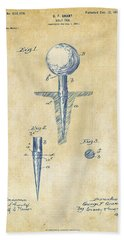 Bath Towel featuring the digital art Vintage 1899 Golf Tee Patent Artwork by Nikki Marie Smith