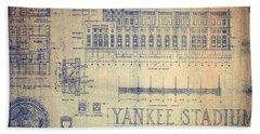 Vintage 1920s Art Deco Yankee Stadium Blueprint Bath Towel