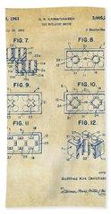 Vintage 1961 Lego Brick Patent Art Bath Towel