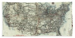 Vintage Aaa Map Of Us Transcontinental Routes - 1918 Bath Towel