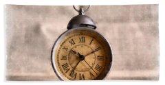 Vintage Alarm Clock Watercolor Bath Towel