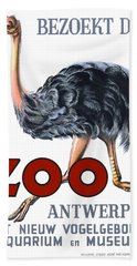 Vintage Antwerp Zoo Ostrich Advertising Poster Hand Towel