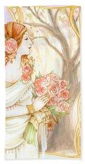 Vintage Art Nouveau Flower Lady Hand Towel