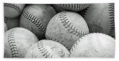 Vintage Baseballs Bath Towel by Brooke T Ryan