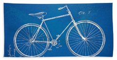 Bath Towel featuring the digital art Vintage Bicycle Patent Artwork 1894 by Nikki Marie Smith