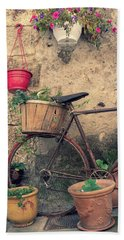 Vintage Bicycle Used As A Flower Pot, Provence Hand Towel