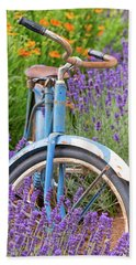 Bath Towel featuring the photograph Vintage Bike In Lavender by Patricia Davidson