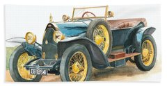 Vintage Blue Bugatti Classic Car Hand Towel