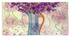 Hand Towel featuring the painting Vintage Blue Flower Bouquet by Cathie Richardson