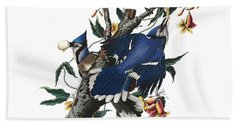 Bath Towel featuring the digital art Vintage Blue Jays Audubon by Joy McKenzie