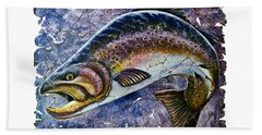 Vintage Blue Trout Fresco  Hand Towel