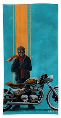 Vintage Cafe Racer  Bath Towel