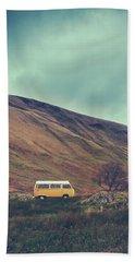 Vintage Camper Van In The Wilderness Bath Towel