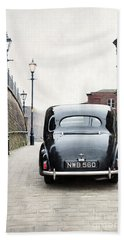 Vintage Car On A Cobbled Street Hand Towel by Lee Avison